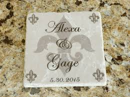 fleur de lis gifts personalized wedding gift tumbled coasters with holder