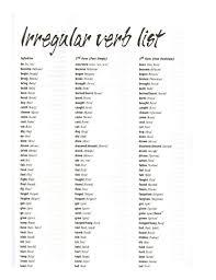 of irregular verbs
