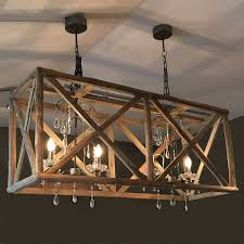 Small Lamps Lighting Large Wood Chandelier With Metal And Crystal Plus Small