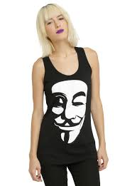 anonymous mask spirit halloween v for vendetta guy fawkes mask girls tank top topic