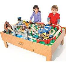 imaginarium train set with table 55 piece amazon com imaginarium classic train table with roundhouse wooden