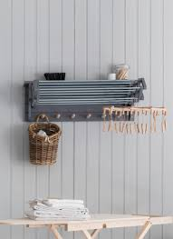 Wall Mounted Cloth Dryer Extending Clothes Dryer In Charcoal Birch Garden Trading
