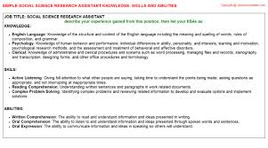 social science research assistant knowledge u0026 skills