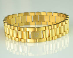 gold link bracelet mens images Mens heavy 14k gold plated rolex style link bracelet 15mm ebay jpg
