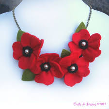 statement necklace with flower images Red poppy necklace poppies and pearls flower necklace bright red jpg