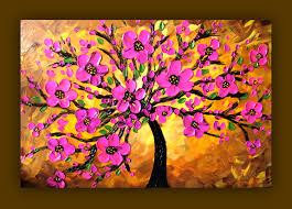 pink flower painting pink tree painting textured original