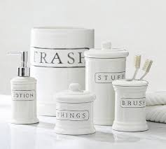 Glass Bathroom Accessories by Ceramic Text Bath Accessories Pottery Barn