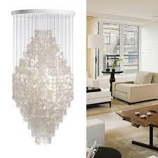 White Shell Chandelier Modern Brief Bell Shell Chandelier Loft Living Room White