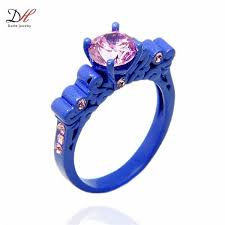 black and pink wedding ring sets turquoise ring promise ring sets cz wedding rings