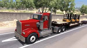 kenworth shop american truck simulator kenworth hauling forklifts youtube