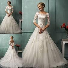 lace 3 4 sleeve wedding dress boat neck a line 3 4 sleeve wedding dress lace open back