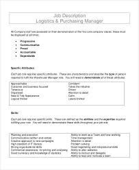 Sample Resume Purchasing Manager by Purchasing Manager Job Description 7 Free Word Pdf Documents
