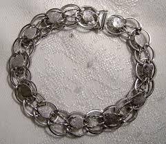 sterling silver charm link bracelet images Sterling silver hearts double link charm bracelet 1970s item jpg
