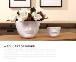 handmade creative white ceramic human vase modern minimalist