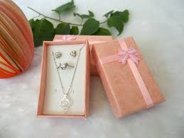 necklace gift sets images Hot sale paper gift jewellery box with sponge pink square jewelry jpg