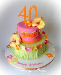 Tropical Theme Birthday Cake - tropical hawaiian theme cake with sugar hibiscus flowers cakes