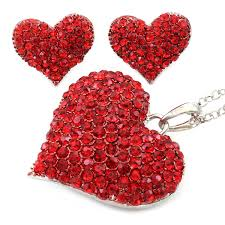 amazon com valentine u0027s day gift red heart necklace pendant stud
