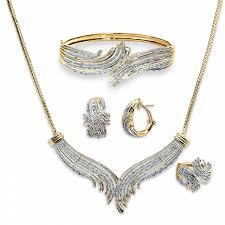 earring necklace bracelet sets images Women 39 s 3 cttw gold over brass diamond necklace bracelet ring net%2