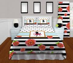 girls bedding horses horse bedding for girls in black u0026 white stripes with flowers