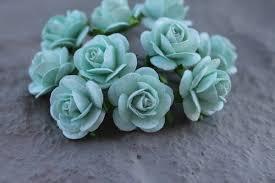 mint green flowers mint green paper flower embellishments unique wedding favors