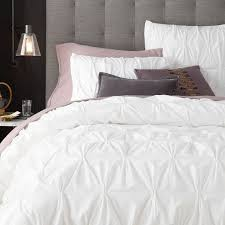 Cover Bed Frame Organic Cotton Pintuck Duvet Cover Shams West Elm