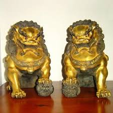 fu dogs pair of fu dogs rendition artifacts of the lotus