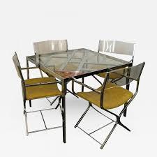 milo baughman chrome u0026 glass game dining table four chrome