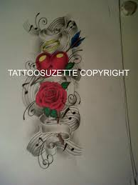 heart and flowers tattoo music hearts and roses tattoo design by tattoosuzette on deviantart