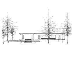 the farnsworth house plano illinois ink sketch 11 x
