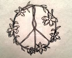 peace symbol flower design tats and hair