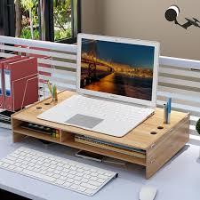 support ecran pc pour bureau support de moniteur de bureau écran d ordinateur riser en bois
