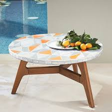 Mid Century Bistro Table Mosaic Tiled Coffee Table Mid Century Orange Top West Elm