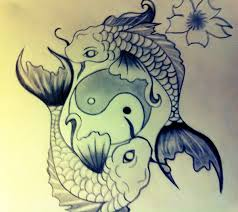 two koi fishes with yin yang design by