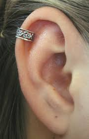 cuff piercing pierced floral lace cartilage ear cuff sterling silver
