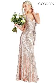 goddiva dresses sequined low v neck maxi dress champagne sequined low v neck