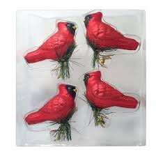 Glass Christmas Ornament Sets - 4ct red cardinals with gold clips glass christmas ornament set