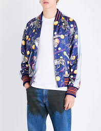 gucci space animal print satin er jacket in blue for men lyst