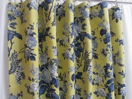 Yellow Drapery French Country Curtains Blue Yellow Floral Drapes French