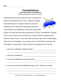 constellations comprehension u2014 instant worksheets