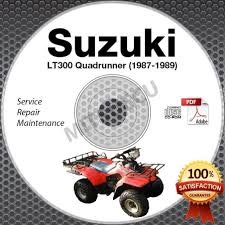1987 1989 suzuki lt300 quadrunner 300 service manual cd lt300e