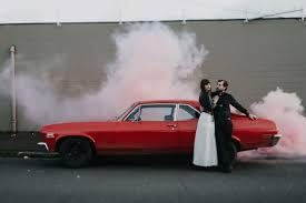 Car Interior Smoke Bomb Stylish Macrame Wedding Inspiration In Portland Green Wedding