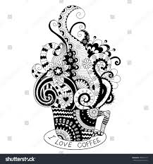cup coffee zentangle design coloring stock vector 354004112