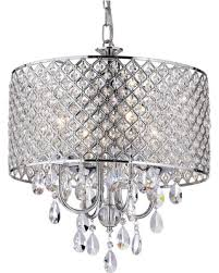 crystal l shade chandelier amazing deal on mariella 4 light crystal drum shade chandelier chrome