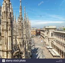 view from duomo roof in milan closeup stock photo royalty free