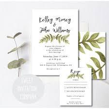 printable wedding invitations greenery wedding invitation