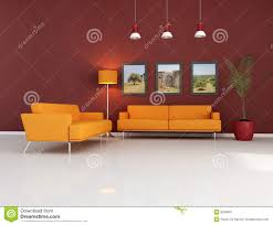 Orange Sofa Living Room by Orange Couch In Modern Living Room Royalty Free Stock Photography