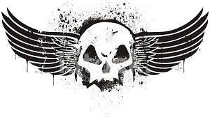 stencil skull with wings stock vector freeimages com