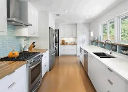 galley kitchen layout laminate oak wood flooring vintage wall