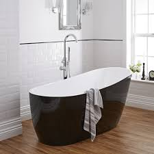modern black freestanding single ended bath tub 70
