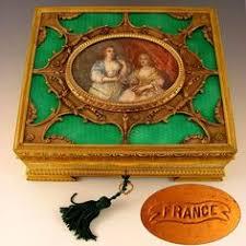 Gilt Bonze Enameled Portrait A Superb Antique Gilt Bronze Jewelry Box Or Casket